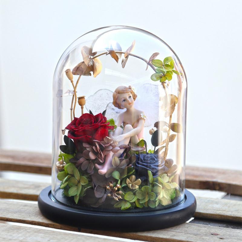 Flor eterna led beleza rosa e besta alimentado por bateria flor vermelha luz da corda lâmpada de mesa romântico dia dos namorados aniversário - 3