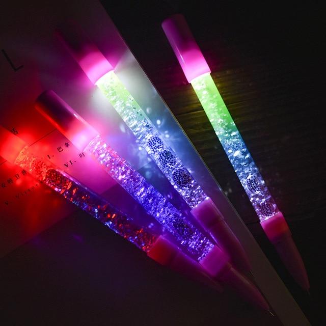 1 PC גליטר חמוד עט נוזל צבע Kawaii עט קסם אור ג 'ל עטי קריסטל עט משרד כתיבה חמוד מכתבים מתנה