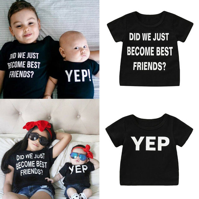 Pudcoco 2019 קיץ קצר שרוול למעלה הטוב ביותר FRLENDS ילד ילדה מכתבי TShirt אחים אחיות קיץ נופש מזדמן חליפה