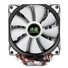 雪だるま4PIN cpuクーラー6ヒートパイプのダブルファン冷却12センチメートルファンLGA775 1151 115 × 1366サポートインテルamd