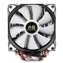 Boneco de neve 4pin cpu cooler 6 heatpipe duplo ventiladores de refrigeração 12cm ventilador lga775 1151 115x1366 suporte intel amd