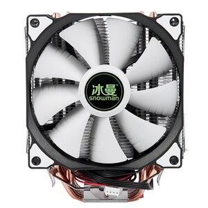 Image 1 - Bonhomme de neige 4PIN refroidisseur de processeur 6 caloduc Double ventilateurs refroidissement 12cm ventilateur LGA775 1151 115x1366 prise en charge Intel AMD
