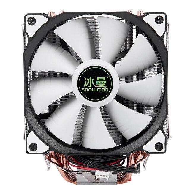 Bonhomme de neige 4PIN refroidisseur de processeur 6 caloduc Double ventilateurs refroidissement 12cm ventilateur LGA775 1151 115x1366 prise en charge Intel AMD
