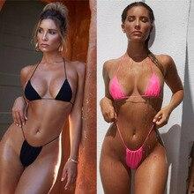 Sexy Thong Bikini Set 2019 Women Swimwear Bandage Push Up Padded Swimsuit Summer Beach Women Bathing Suit Brazilian Monokini Hot