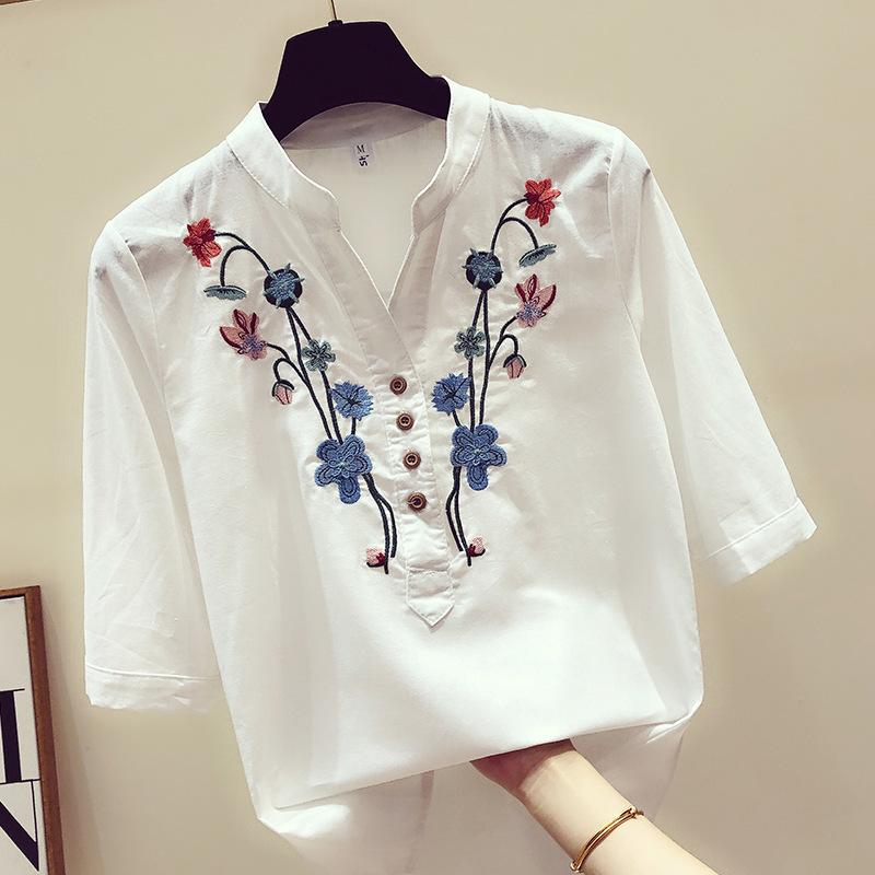 2019 Spring New Women Short Sleeve V Neck White Floral Embroidery Cotton Fashion   Blouse     Shirts   Casual Tops   Shirt   Blusas