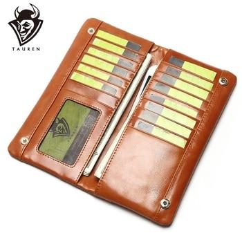 Таурен масло воск натуральная кожа мужской кошелек Длинный дизайнерский мужской клатч роскошный бренд мужские кошельки на молнии портмоне... >> Tauren Store