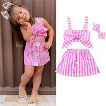 Pretty Summer Stripe Clothes Newborn Kid Baby Girl Outfits Bowknot Strap Sleeveless Top Button Skirts 2Pcs Baby Girl Sets