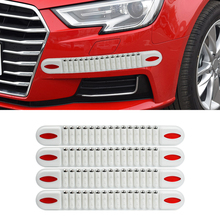 4pcs Carbon White Car Styling Mouldings Strip Bumper Anti-Collision Door Edge Guard Protector Corner Moldings