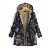 2018 Women Vintage Fleece Floral Print Hooded Pockets Oversize Hoodies Winter Long Sleeve Plus Size Hoodies Sudaderas Mujer
