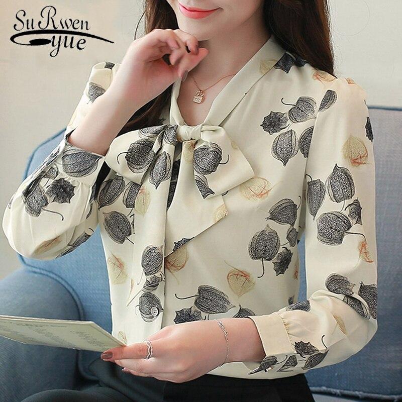 Fashion Women Blouses Plus Size Print Chiffon Blouse Shirt Office Work Long Sleeve Women Shirts Womens Tops And Blouses 1059 60