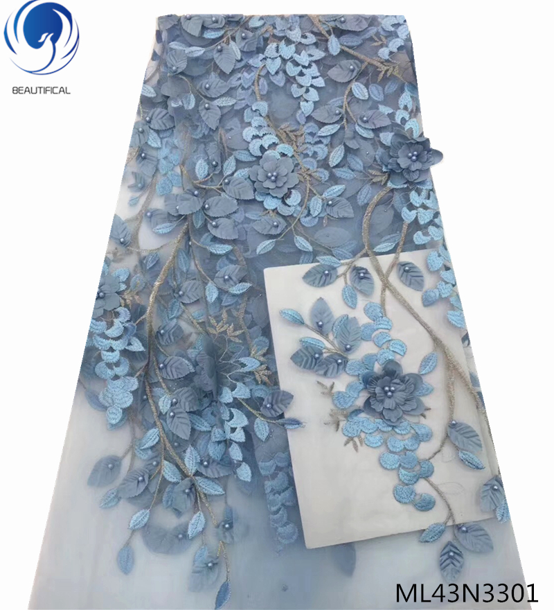 BEAUTIFICAL 3d flower laces fabric french tulle lace fabrics with beads african fabircs dresses for wedding 5yards/lot ML43N33BEAUTIFICAL 3d flower laces fabric french tulle lace fabrics with beads african fabircs dresses for wedding 5yards/lot ML43N33