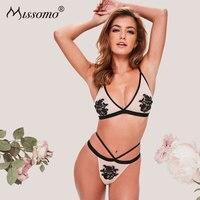 cdd1200ba Missomo Women Bra Set 2PCS Mesh Thong Lingerie Sexy Transparent Body Porno  Silk Lace VS Bralette. Conjunto Mulheres Sutiã ...