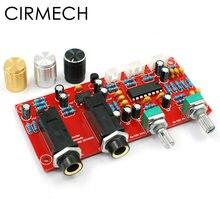 Cirmech pt2399 ne5532 karaoke placa amplificador de microfone placa pré-amplificador reverberação eco placa kit e terminado opcional