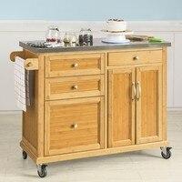 SoBuy®FKW70 N, кухня тележка для хранения кухонный островной шкаф буфет с нержавеющая сталь Топ