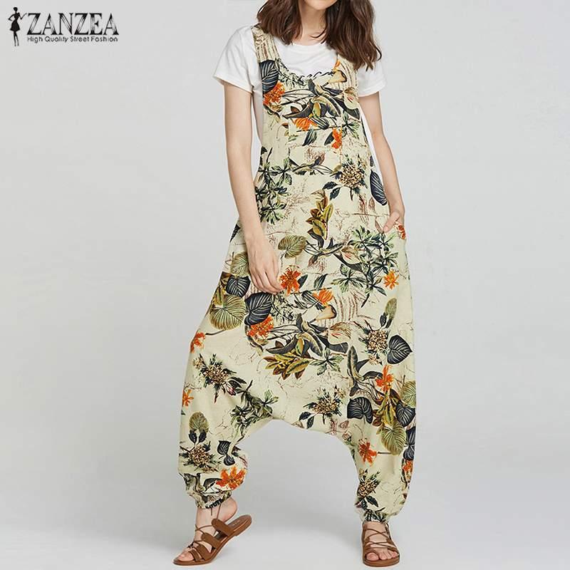Plus Size Linen Overalls Women's Drop-Crotch Jumpsuits ZANZEA 2019 Summer Tank Rompers Vintage Print Pant Combinaison Femme 5XL