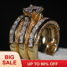 Handmade Jewelry 3-in-1 Engagement ring AAAAA zircon cz Yellow Gold 925 Sterling silver Wedding Band Ring set For women men(China)
