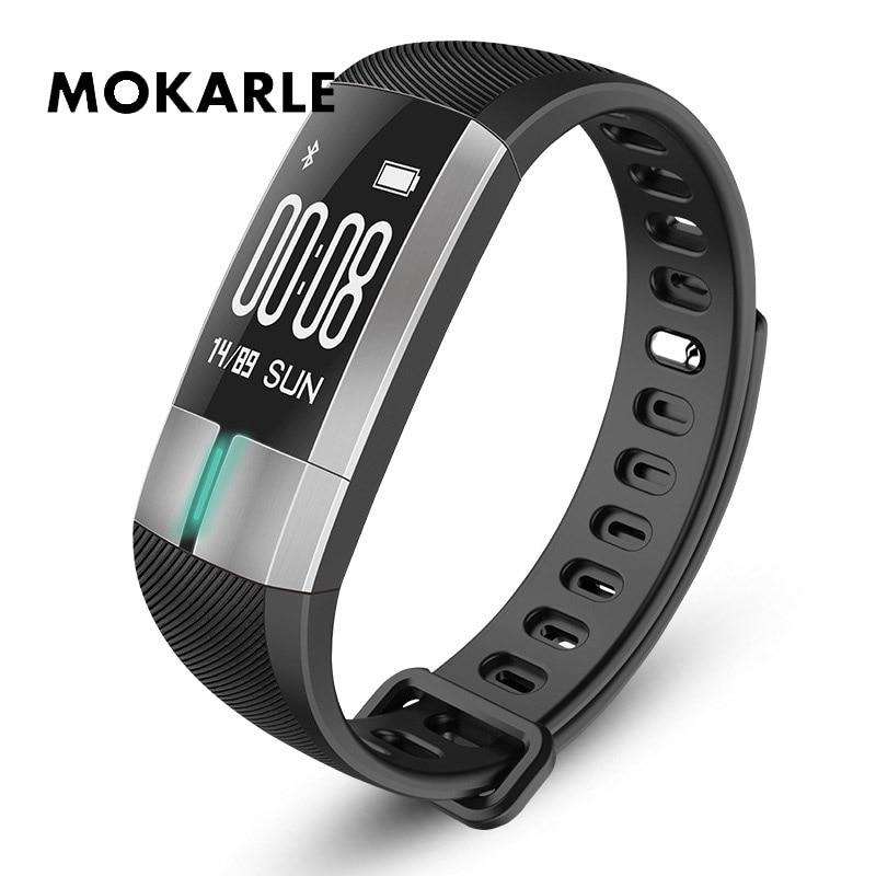 Multifunctional Heart Rate Blood Pressure Monitor Waterproof Oximeter Pedometer ECG  Bracelet For IOS Android