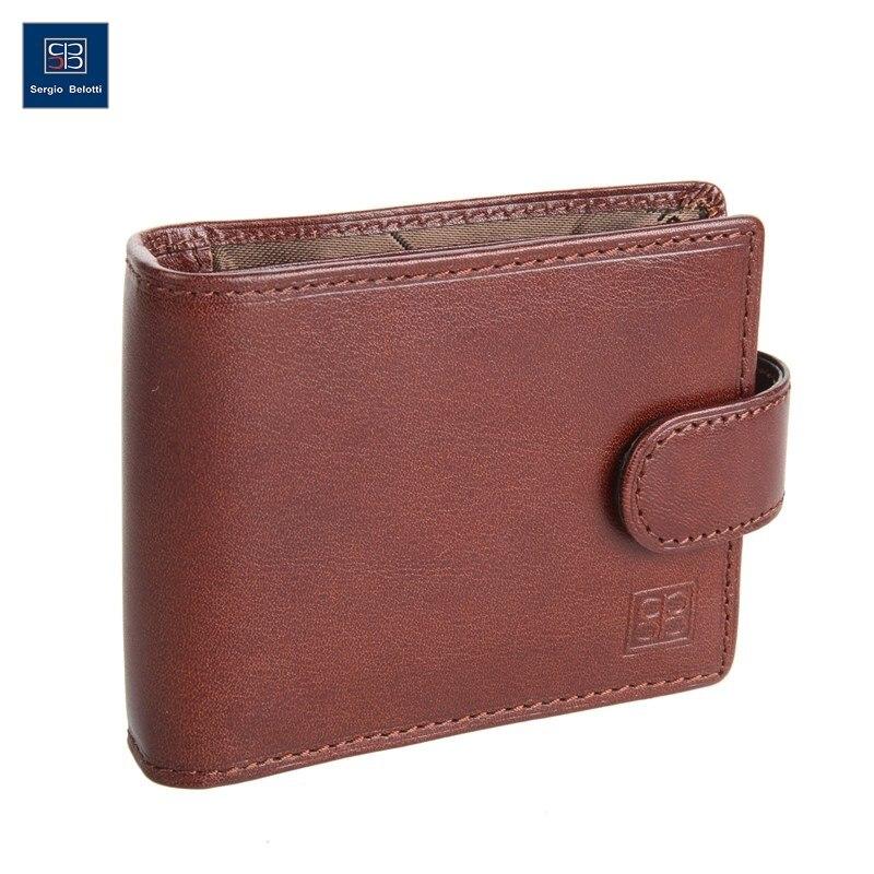 Business Card Holder Segio Belotti 2392 Milano Brown short genuine leather cowhide men wallet business card coin money male purse card holder