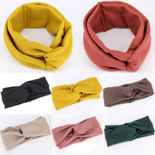 7 Colors Cotton Solid Color Elastic Adult Hair Band High Quality Knit  Cross Yoga Women Headband Fashion Hairwear