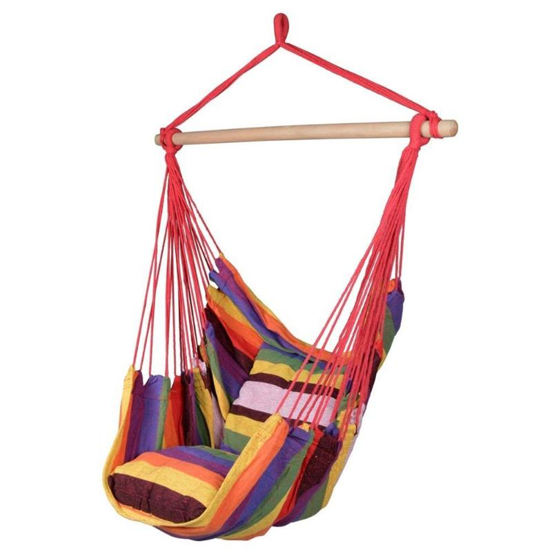Hammock Hanging Rope Chair Swing Chair Seat With 2 Pillows Travel Camping Hammock Swing Bed For Indoor Outdoor Garden