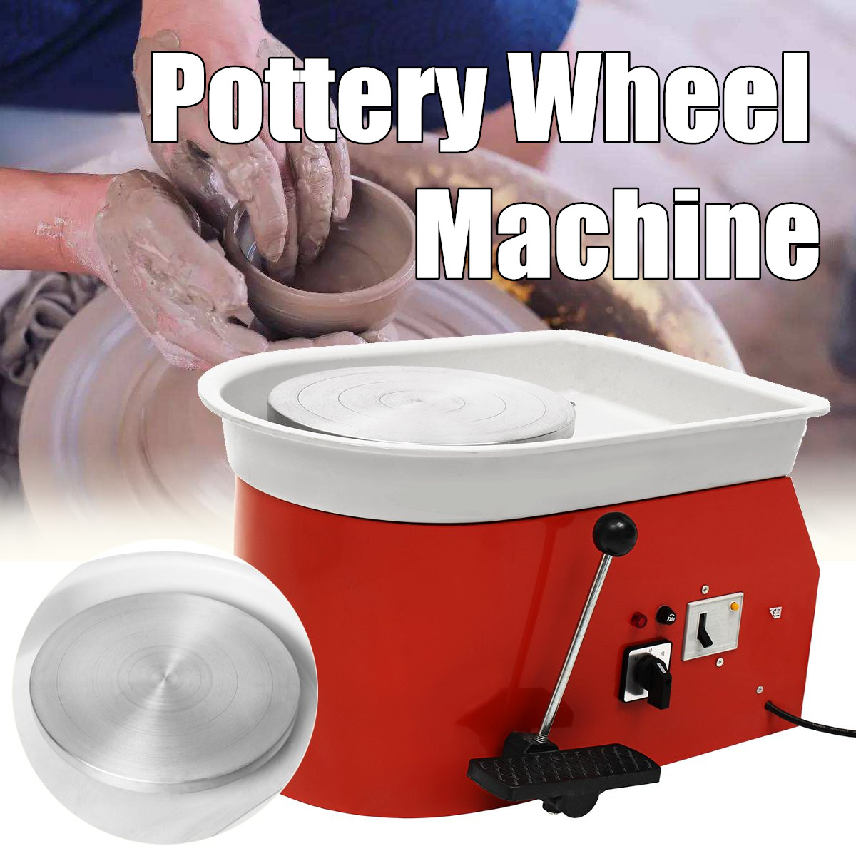 220V 250W Electric Pottery Wheel 25cm Pottery Forming Machine DIY Clay Sculpting Ceramic Machine Variable Speed Reversible