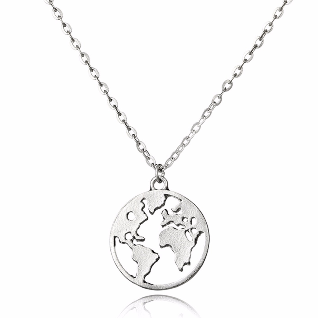 Mini Simple Silver Globe World Map Necklace With Pendant