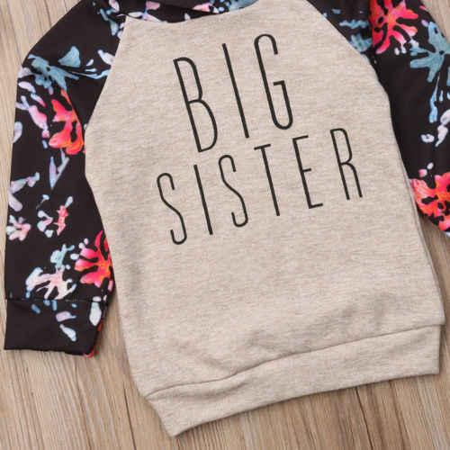 2018 rahat çocuklar bebek kız kardeş maç çiçek elbise uzun kollu mektubu kapşonlu üstleri tulum sıcak sonbahar kış kıyafetler 0-6Y