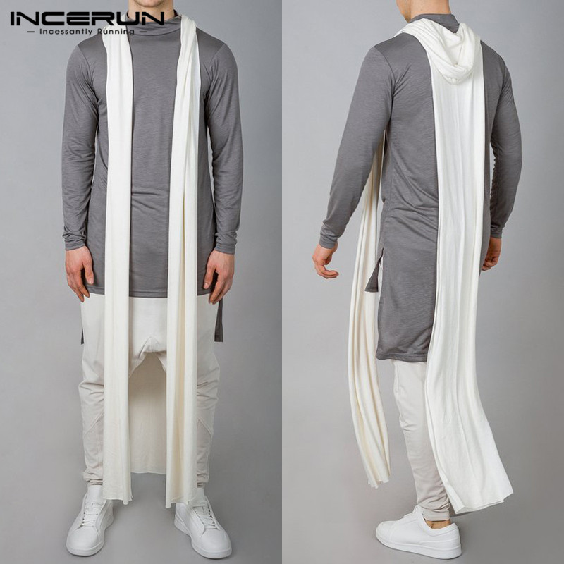 Gothic Fashion Mens Long Jackets Long   Trench   Thin Coat Sleeveless Casual HipHop Cardigan Male   Trench   Cloak Streetwear Outwear