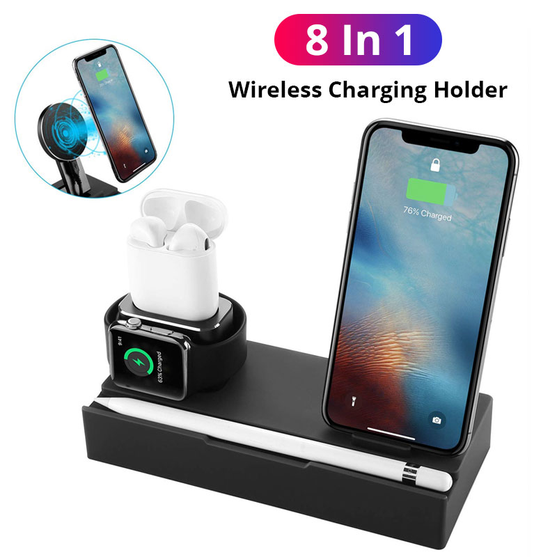 Chargeur 8in1 pour Apple Watch Airpods Station de charge support Station QI chargeur sans fil pour Iphone Samsung chargeur USB Stan