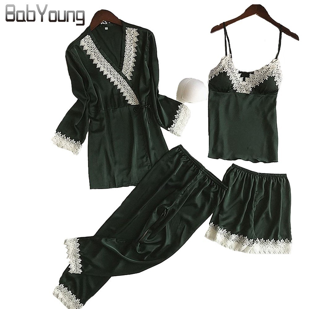 BabYoung Summer Women Silk Pajamas 4PCS Set Sexy Long Sleeve Satin Camisole Lace Patchwork Nighty Sleepwear