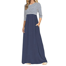 Fashion Ladies Boho Maxi Dress Summer Autumn Women Casual Long Sleeve Striped Print Patchwork Beach Sundress