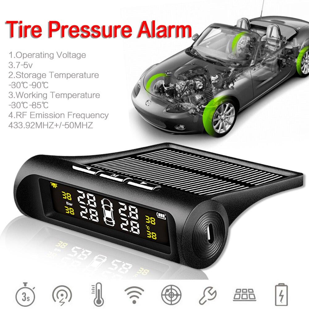 Zeepin Car TPMS Tyre Pressure Detector Solar Wireless External 4 Sensors Real time Alarm Warning USB Charge Vehicle Monitoring