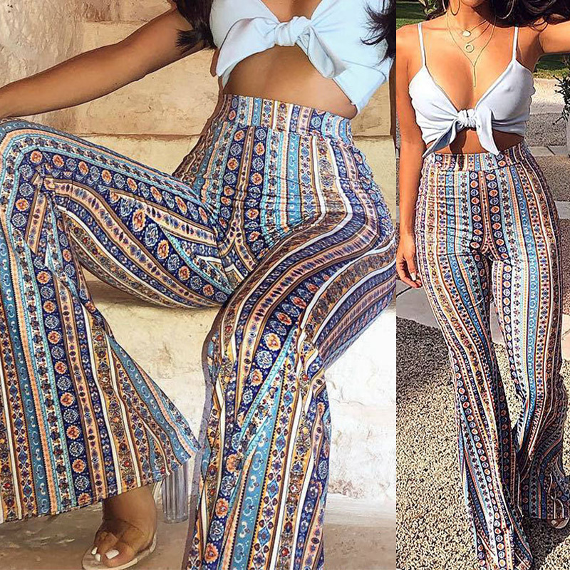 Women Striped Printed Boho Flare   Pants   2019 Women's   Wide     Leg   Harem   Pants   High Elastic Waist Vintage Stretch Bell Hippie   Pants
