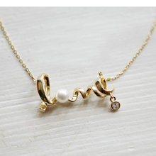 2018 Trendy Pearl Pendant Gold Necklace Women Letter Crystal Silver Necklaces Women Choker Necklace Chain Female Jewelry Coupl(China)