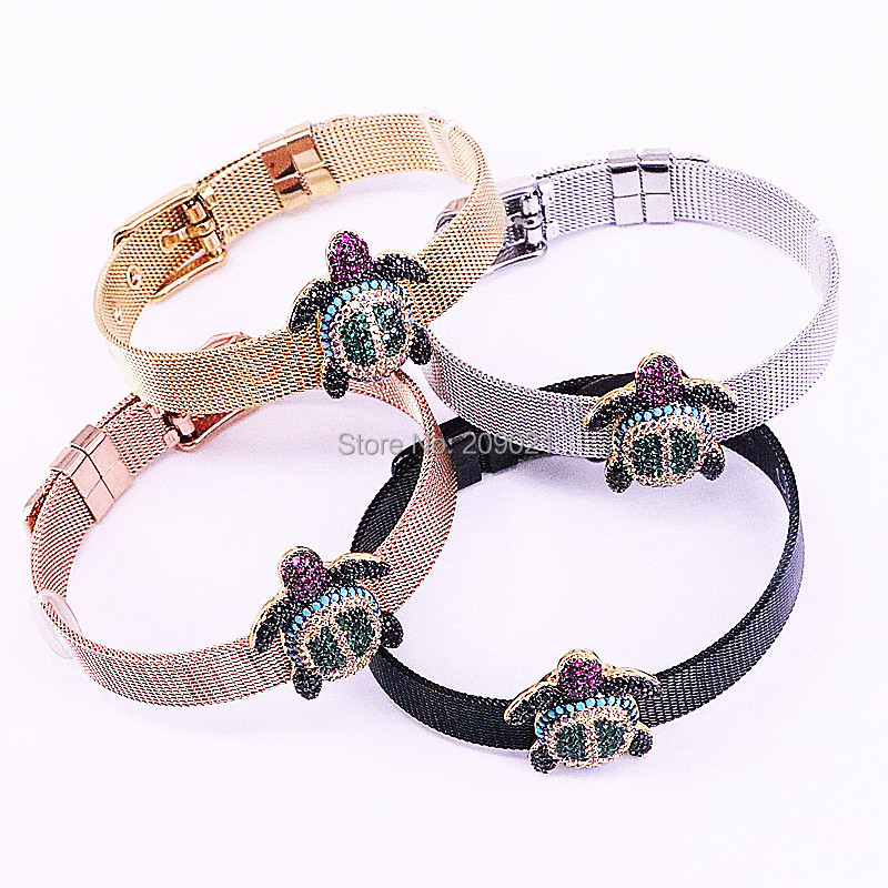 New Fashion 5Pcs CZ Micro Pave Sea Turtle Spacer Bead Watch belt bangle Cubic Zirconia Adjustable