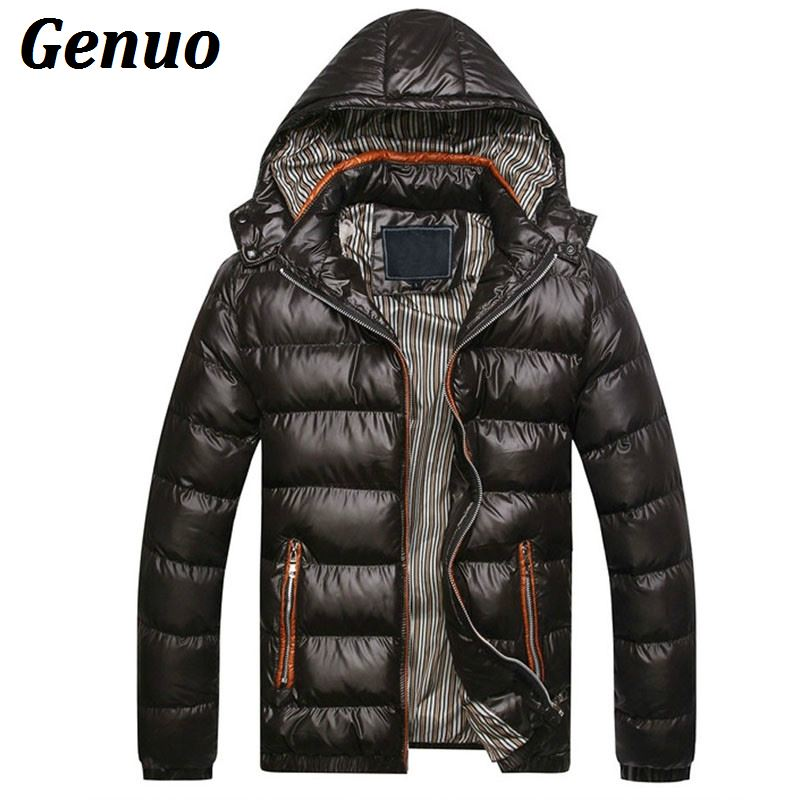 Genuo New Men Winter Jacket Fashion Hooded Thermal Down Cotton   Parkas   Male Casual Hoodies Overcoat Clothing Warm Coat 5XL