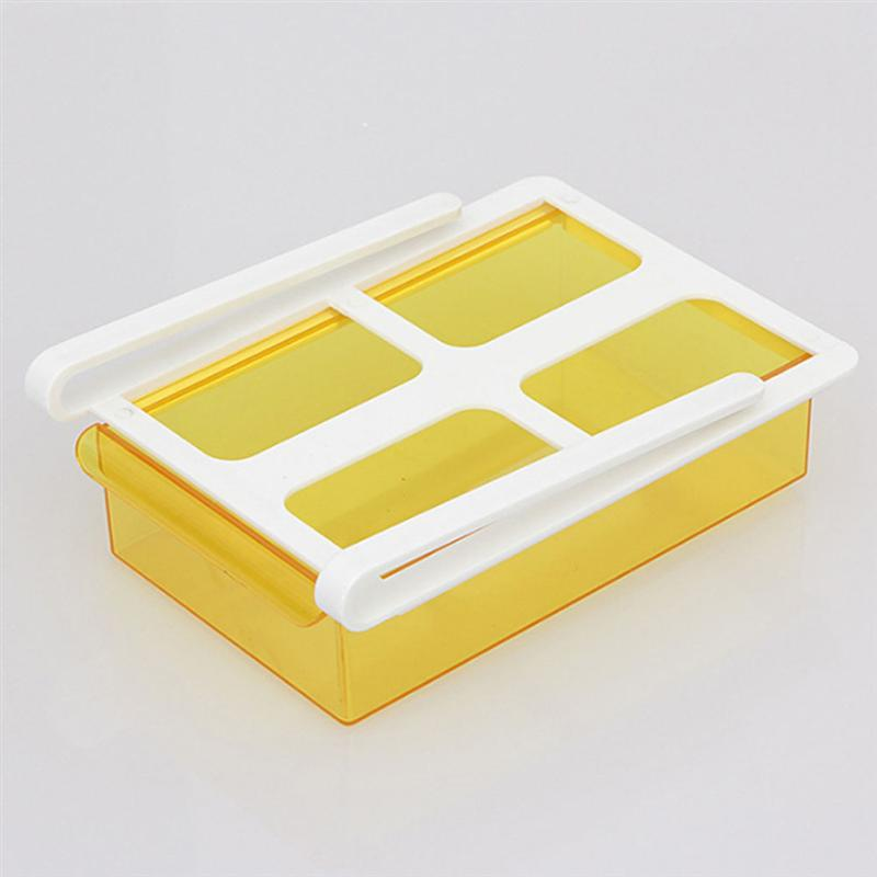 1 Pc Durable Fridge Storage Rack Partition Sliding Drawer Food Crisper Holder Home Kitchen Supplies Yellow Green in Bottles Jars Boxes from Home Garden