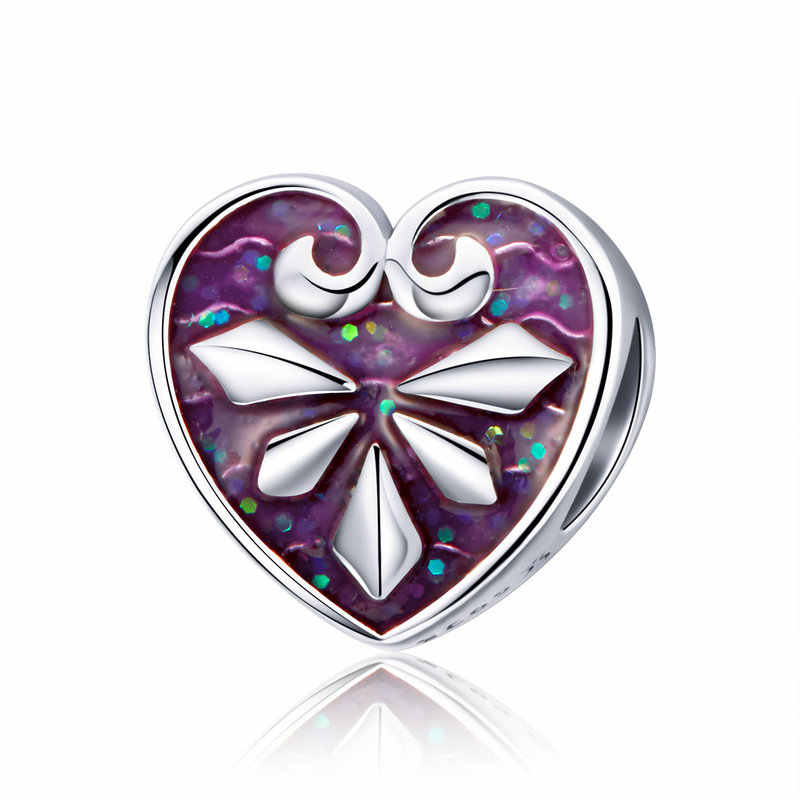7b188b7cb MOWIMO Luxury 925 Sterling Silver Purple Love Heart Charm Bead Fit For  Original Pandora Bracelets Pendant