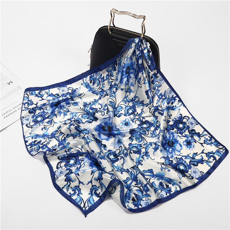 2019 New 60x60cm Chinese Style Lotus Flower Print Small Square Stain   Scarf   Women Elegant Neck Hair Head   Wrap   Scarfs for Ladies