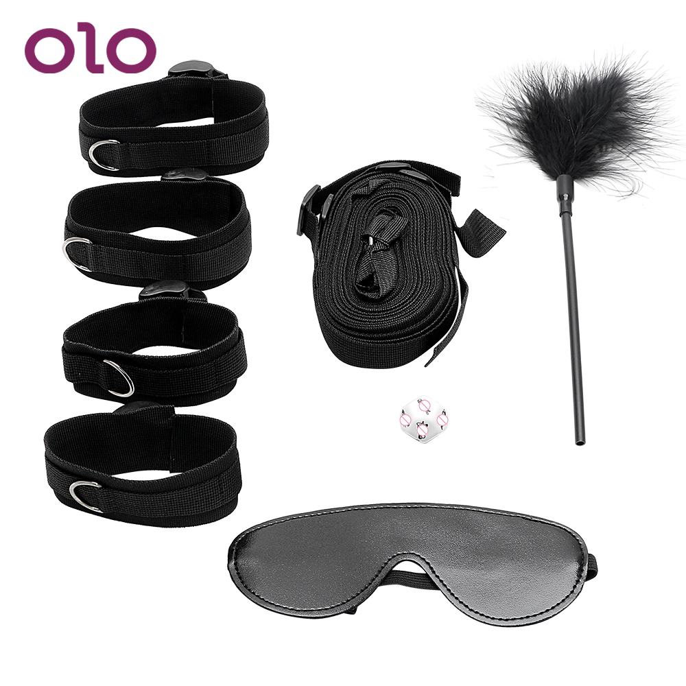 OLO <font><b>4Pcs</b></font>/<font><b>Set</b></font> Handcuff and Ankle Cuffs with Eye Mask Feather Whip <font><b>Sex</b></font> Dice Under Bed Restraint Adult Game <font><b>Sex</b></font> <font><b>Toys</b></font> for Couples image