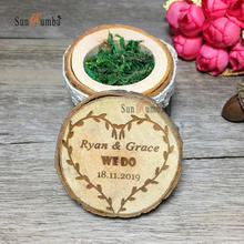 1pcs Wedding Decoration Custom Personalized Ring Box Holder Rustic Decor Vintage Party Engagement Wooden Pillows