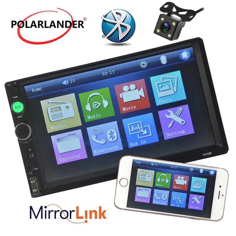 Lecteur Radio cassette Autoradio Auto lien miroir Autoradio modèles généraux 7 ''2 DIN ecran tactile LCD Bluetooth appel mains libres - 2