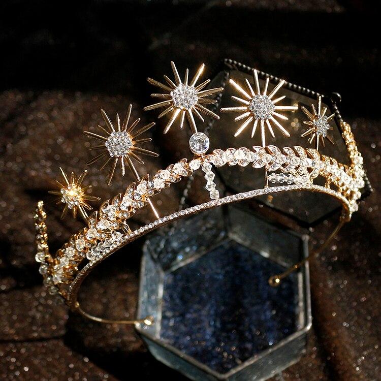 Rosebridalpark Baroque Exquisite Bride Crowns Earrings Sets Wedding Accessories Rhinestone Bridal Diadem Tiaras Hair Ornaments