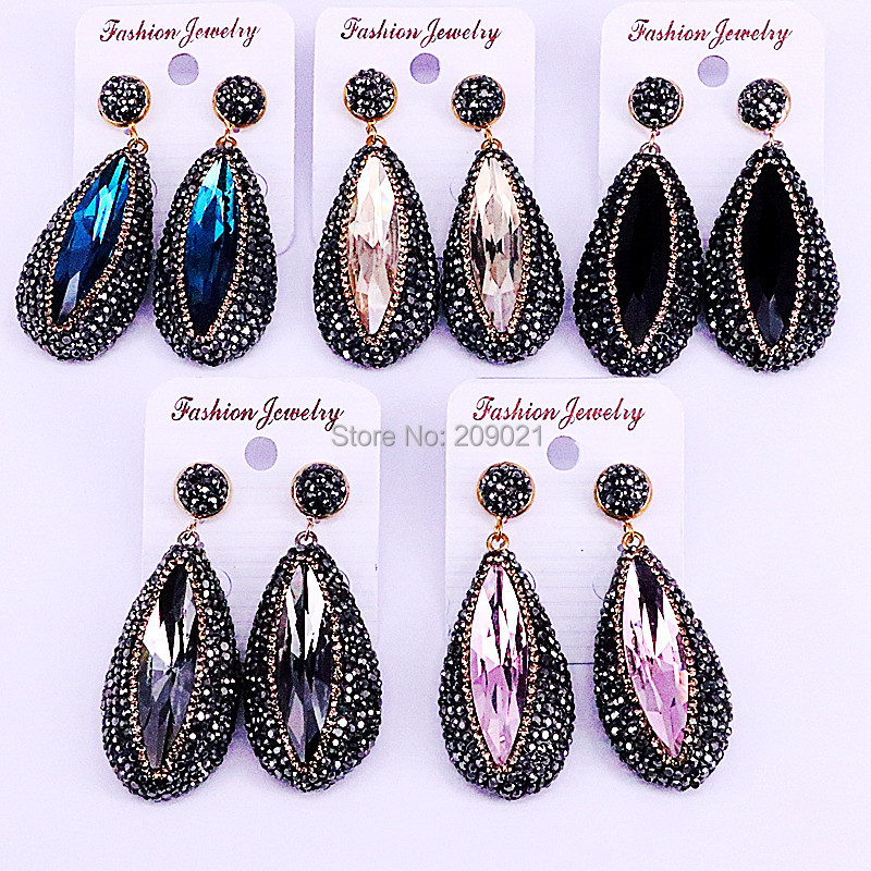 5Pair Fashion Rhinestone Earrings For Women Drop Faceted Crystal Stone Dangle Earrings Charm Jewelry