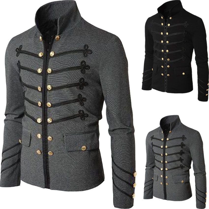 Man Purim Victorian Gothic Style Jacket Zipper Christian Medieval Knight Coat Solid Middle Ages Male Carnival Clothing