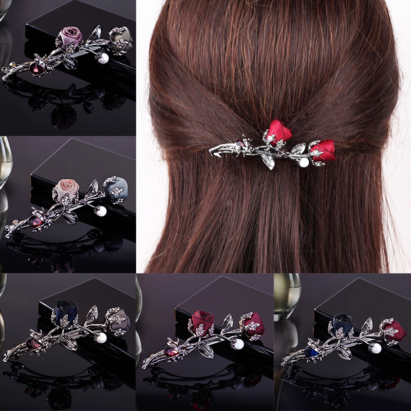 1PC Ponytail Holder Crystal Hair Accessories Christmas Gifts Gifts Rose Flower Rhinestone Leaves Barrettes Hair Clip Black