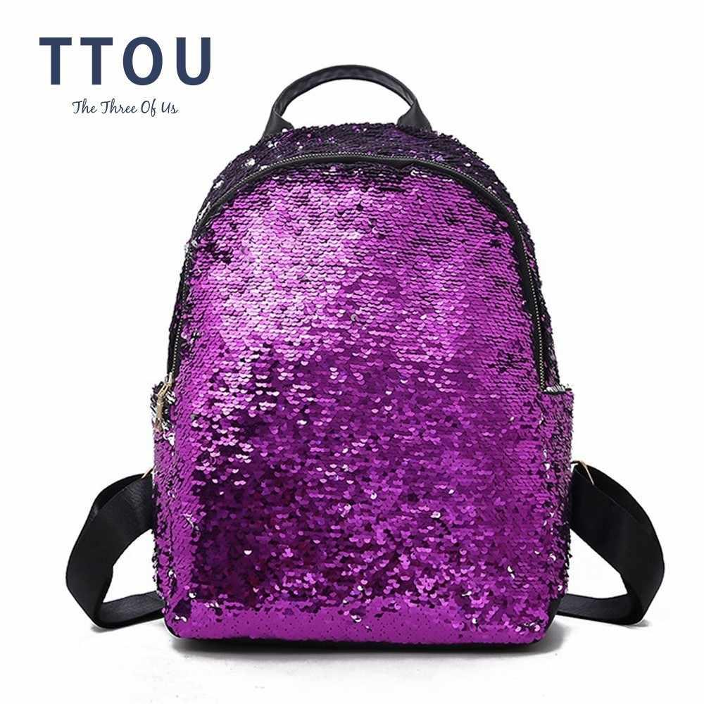 f30d4c3a9fd0 TTOU Fashion Sequins Pu Leather Backpack Women Bling Female Mochila Girls  Glitter School Bags Shine Bag