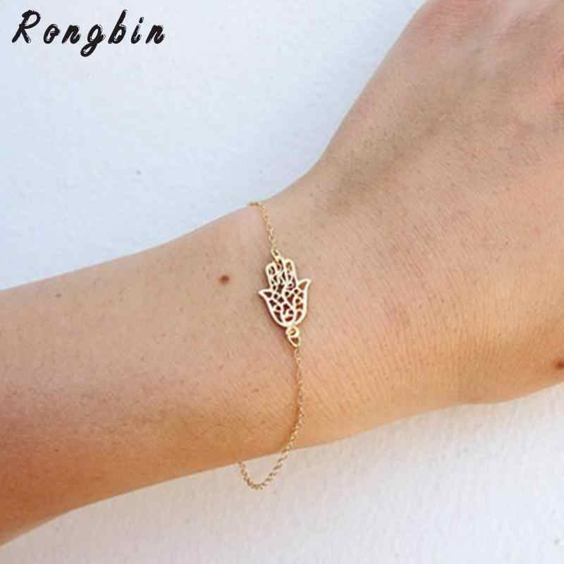 2019 New Simple Gold Chain Hamsa Bracelet For Women Fatima Hand Bracelet femme pulseras mujer Bijoux Jewelry