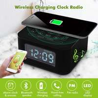 Wireless Charging Alarm Clock Radio bluetooth Speaker for Bedrooms Wireless Charger for iPhone X Snooze 4 Dimmer Hands Free