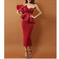 2019 Evening Party Dress Women Sexy Bodycon Dress One Shoulder Ruffles Short Sleeve Strapless Club Dress Vestidos
